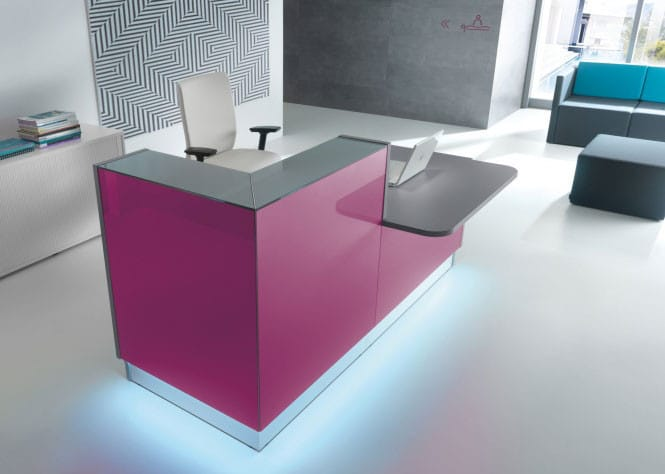 Linea-Fuschia-Glass-Reception-Desk-Downlit-Kickplate