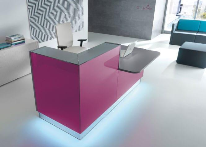 Linea-Fuschia-Glass-Reception-Desk-Downlit-Kickplate