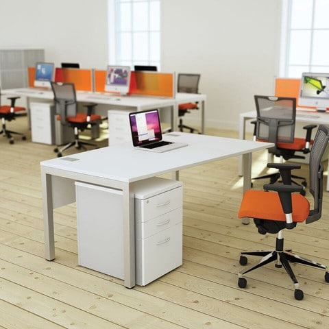 Bench-Squared-White-Deskits-With-Pedestal-Drawers-in-Office-Environment