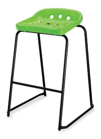 Pepperpot-Green-Plastic-Classroom-Stool-with-Black-Skid-Frame-and-Foot-Bar