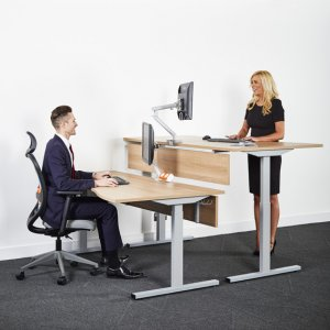 Two-People-Using-Rise-Electrical-Height-Adjustable-Desks-One-Sitting-One-Standing