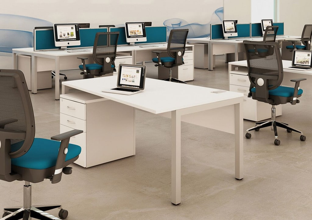 Bench-Squared-White-Angular-Deskits-In-Office