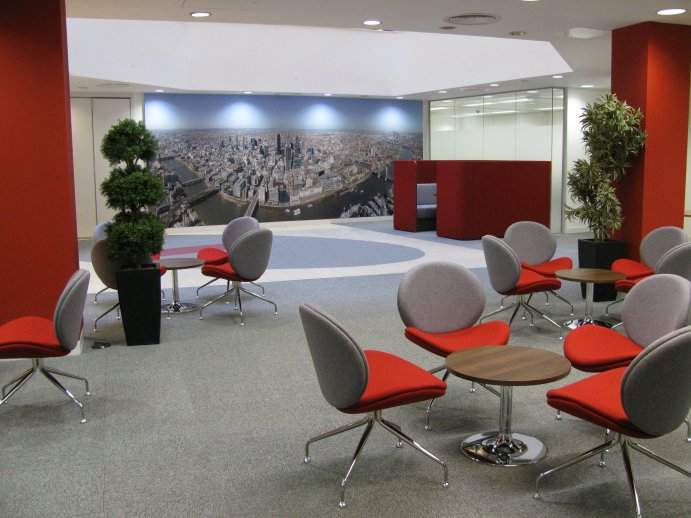 Modern Reception Area Red and Grey