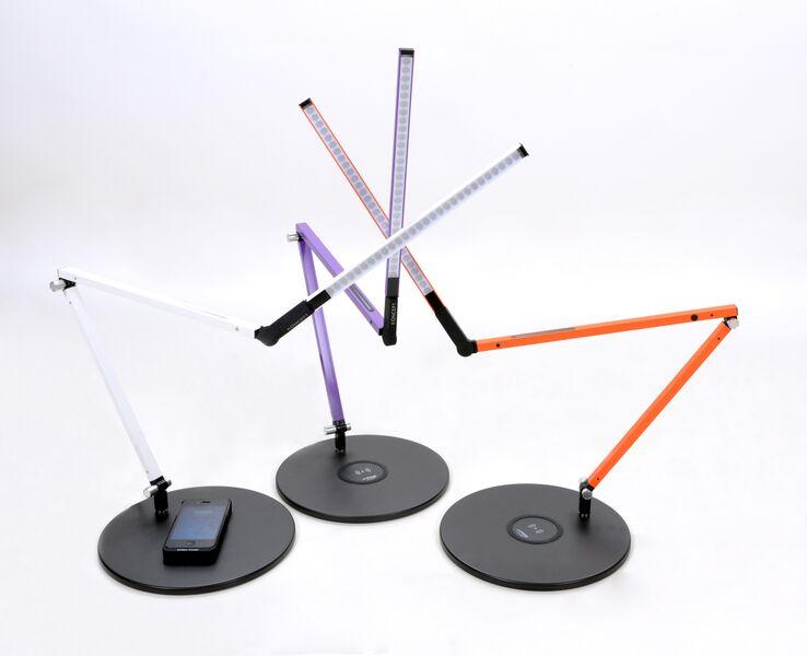 Z-Bar Led Lamp with Wireless Charging Pad White Purple Orange